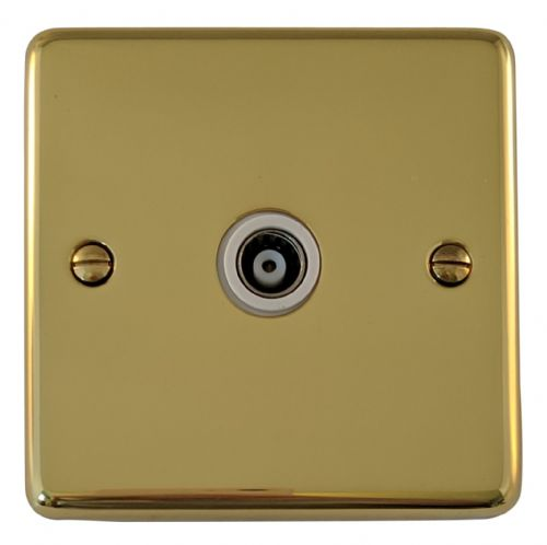 G&H CB35W Standard Plate Polished Brass 1 Gang TV Coax Socket Point